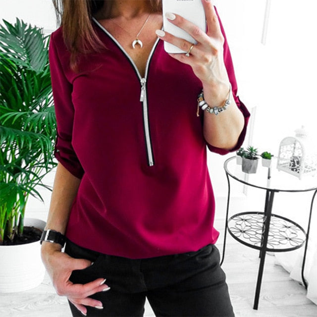 Sexy V Collar Zipper Roll Up Long Sleeves Loose Solid Shirt