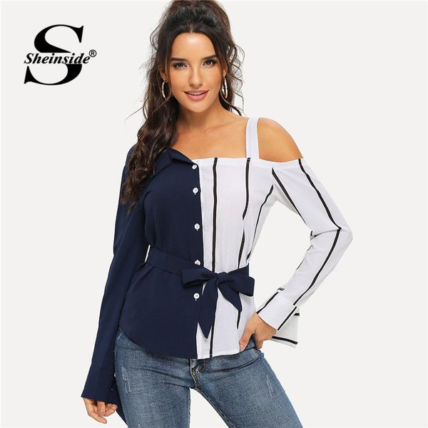 Navy Cold Shoulder Striped Blouse Shirt Long Sleeve