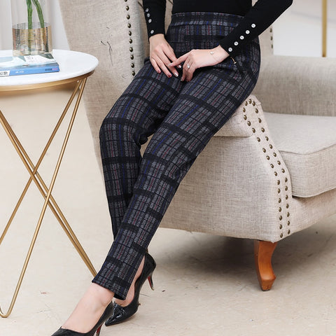 Women Plaid Straight Trousers Thick Fleece