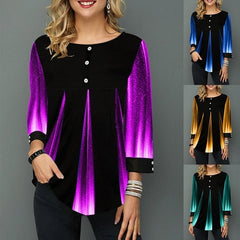 Casual Plus Size 3/4 Sleeve Female Blouses Loose O-neck