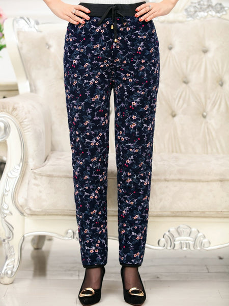 Thick Quilted Pants Flower Pattern Padded Bottoms