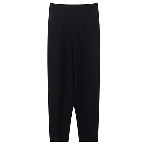 women Pants High Wasit Split Kintted Slim Fit
