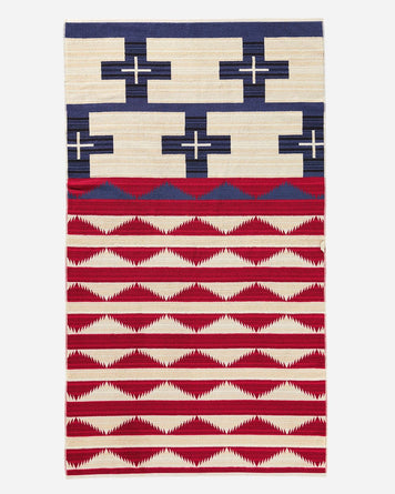 Oversized Jacquard Towel Brave Star Red. White & Blue