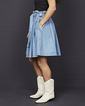 Pleated Denim Skirt Light Blue