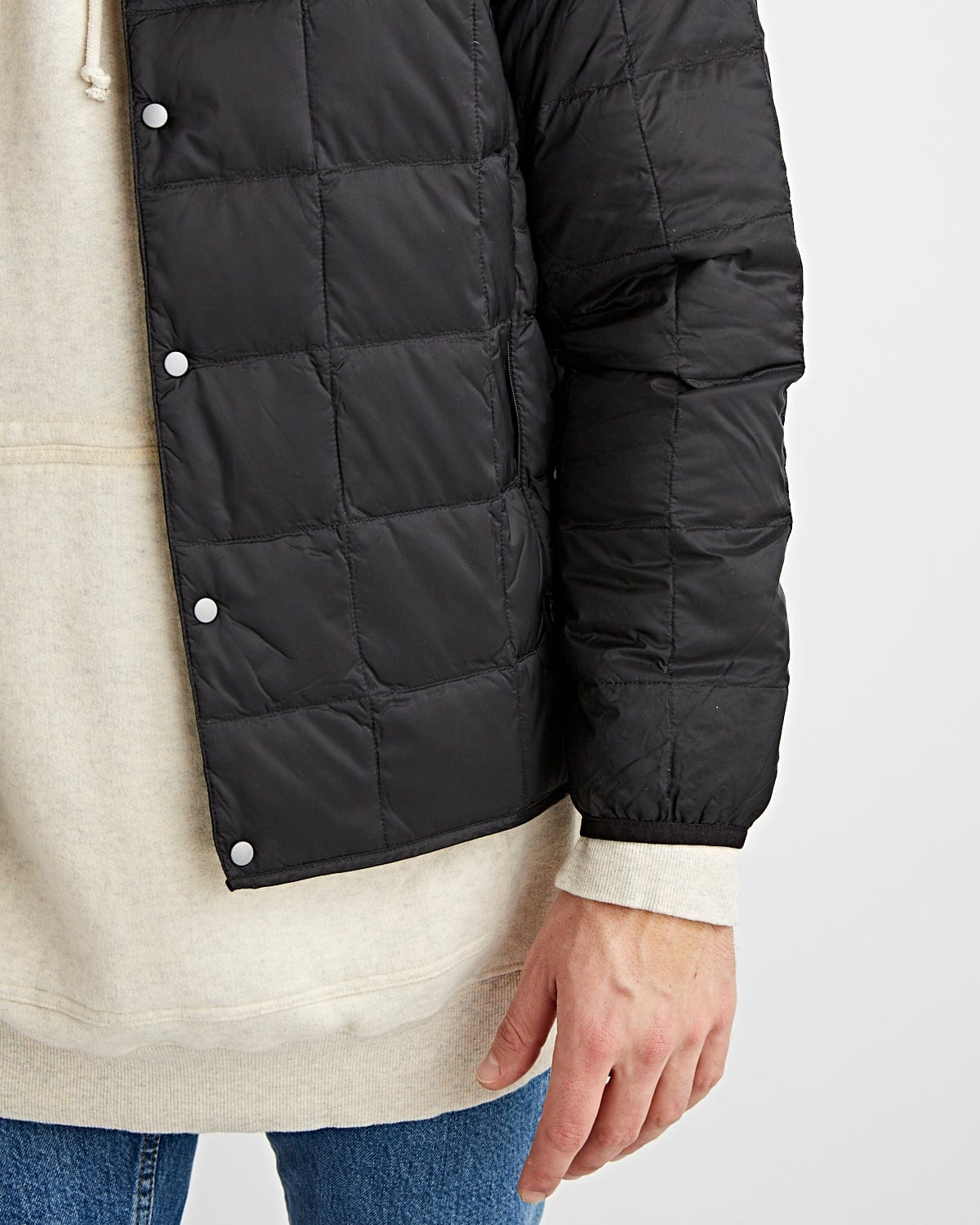 Crew Neck Button Down Jacket Black