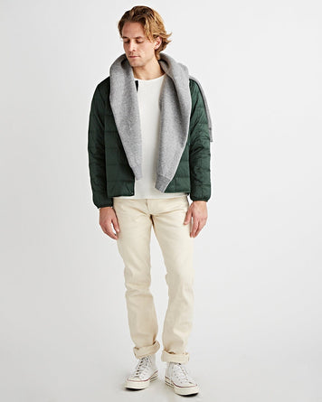Crew Neck Button Down Jacket Green