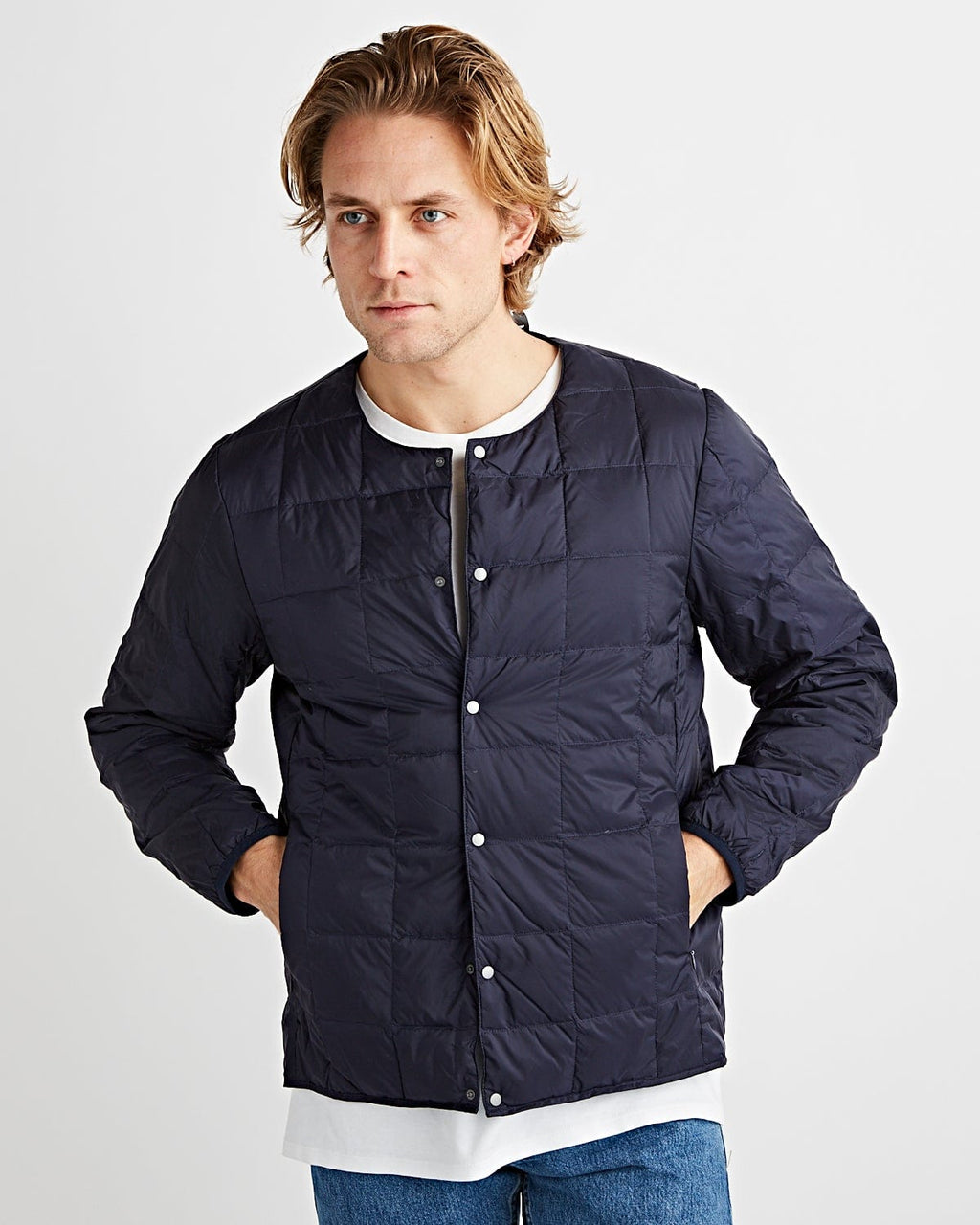 Crew Neck Button Down Jacket Navy