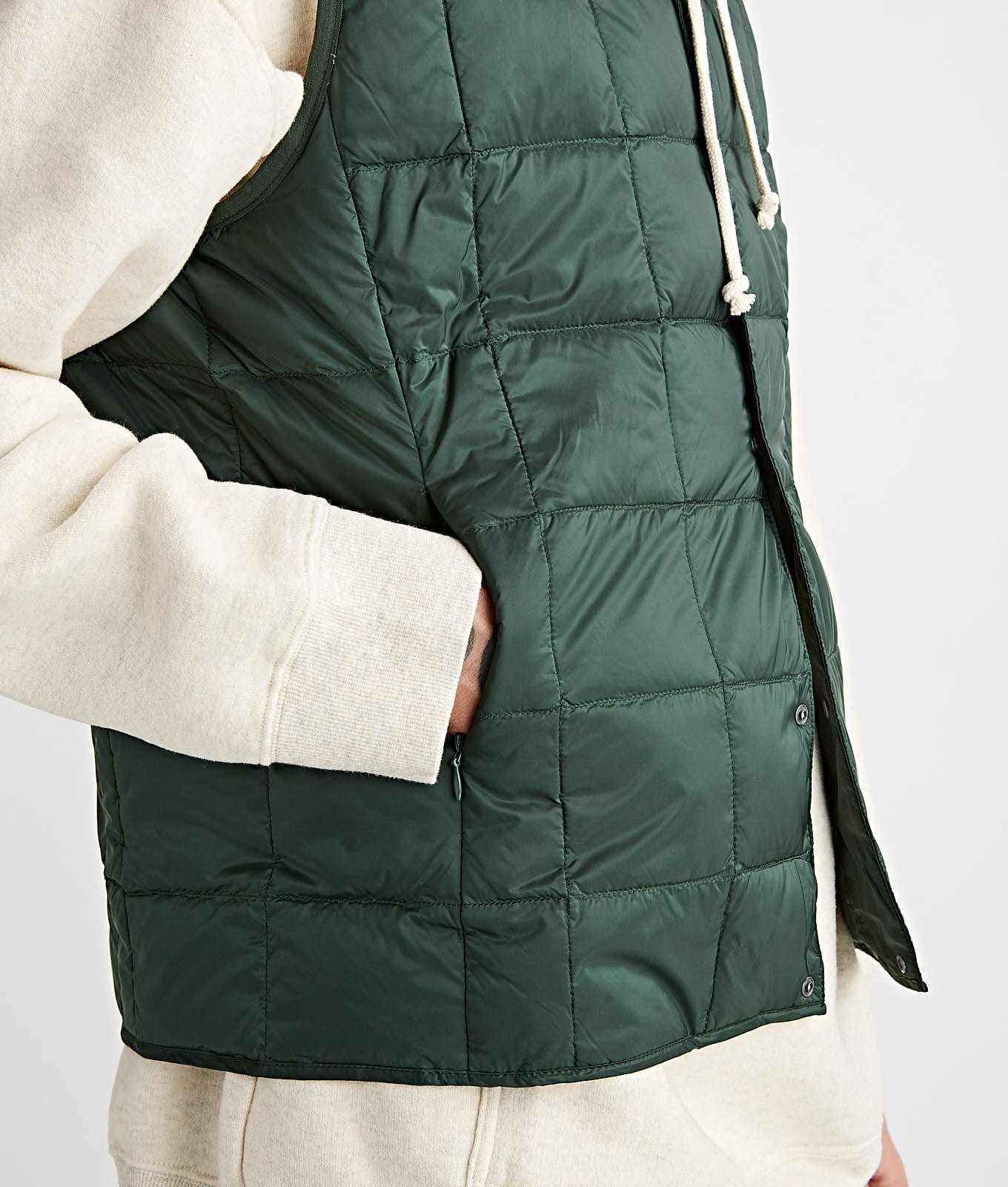 V Neck Button Down Vest Green