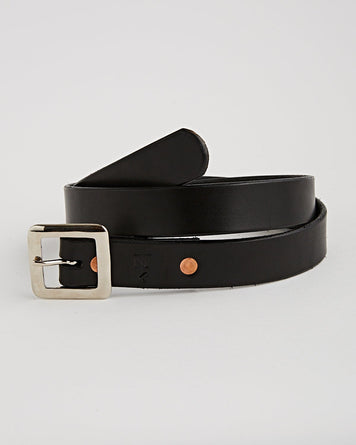 Handmade Belt Black 32mm Silver Buckle