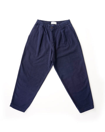 Pleated Track Pant Canvas Navy