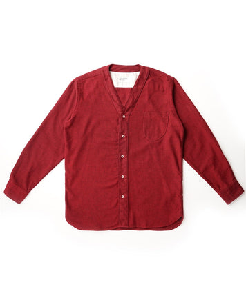 V Neck Overshirt Recycled Brush Twill Red