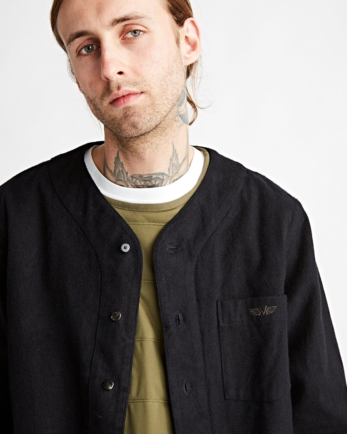 Free Edge Shirt Baseball Collar Navy