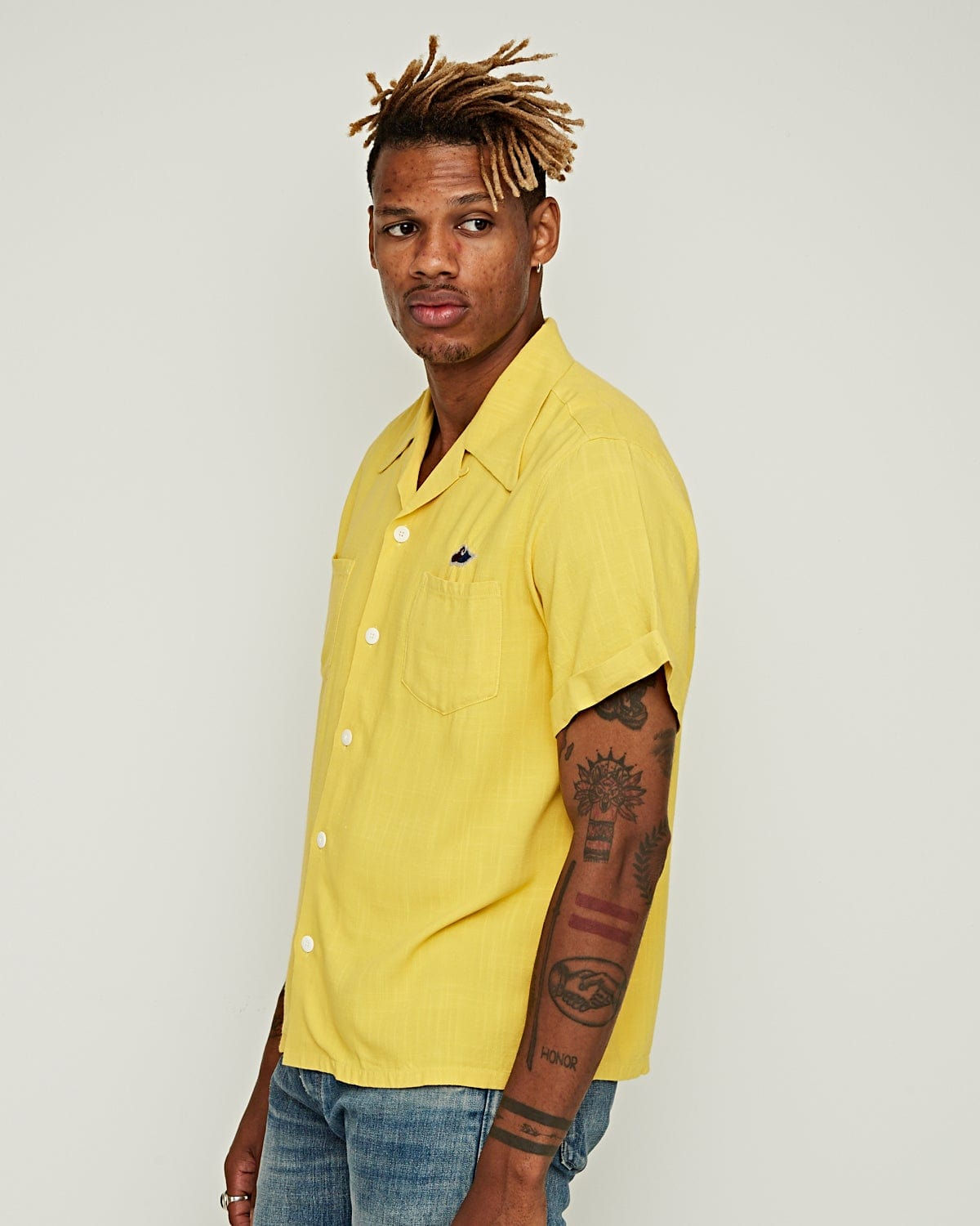 Irving Shirt S/S Rayon Yellow