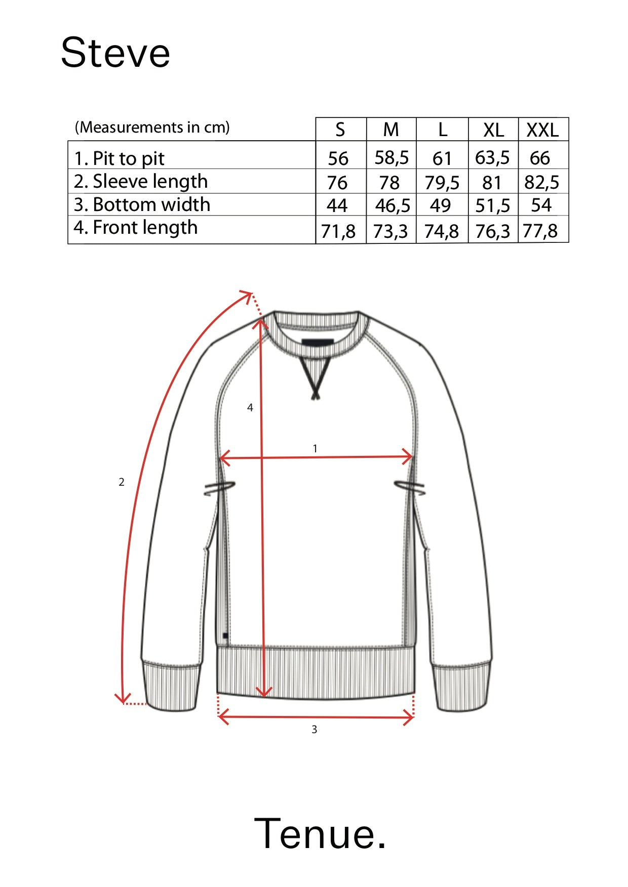 Steve Mohave Sweater size table