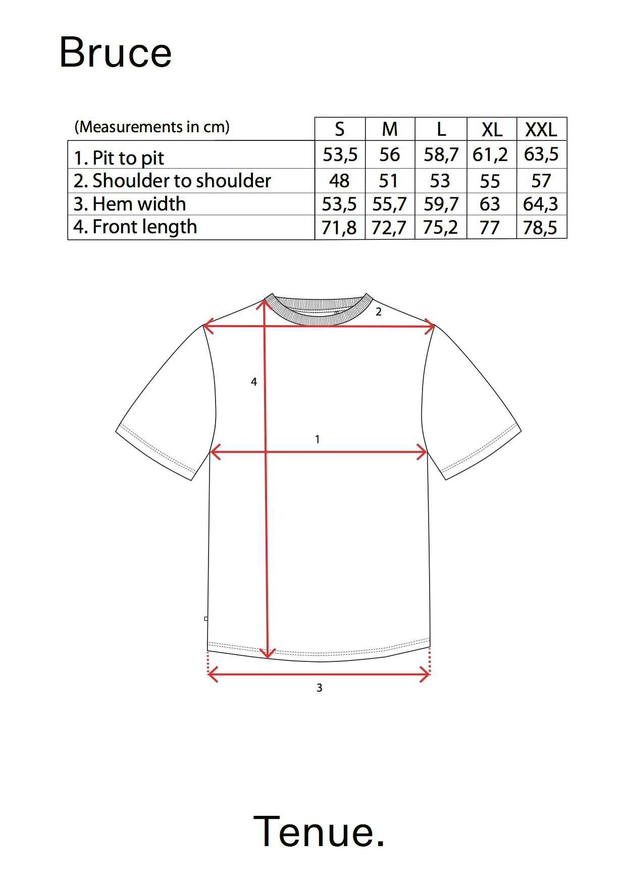 Bruce Tee Optic White size table