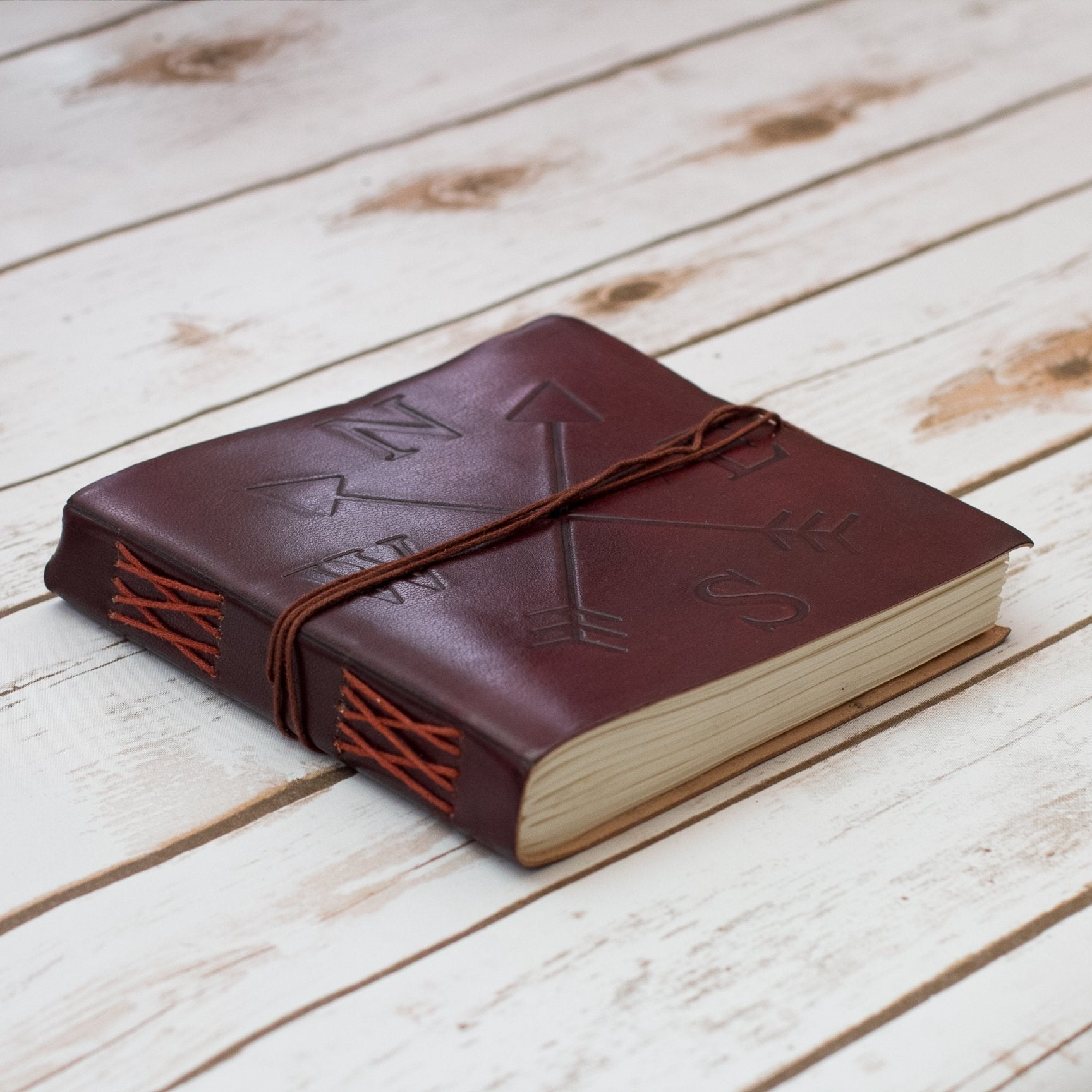 Cardinal Directions Square Handmade Leather Journal