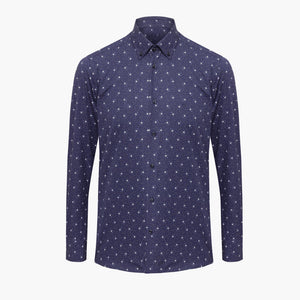 %100 Cotton Printed Flower Patterned Navy Slim Fit Shirt