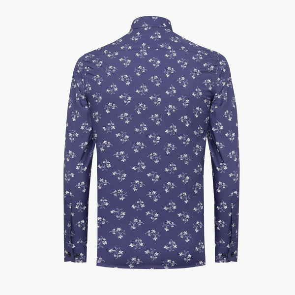 %100 Cotton Printed Flower Patterned Blue Slim Fit Shirt