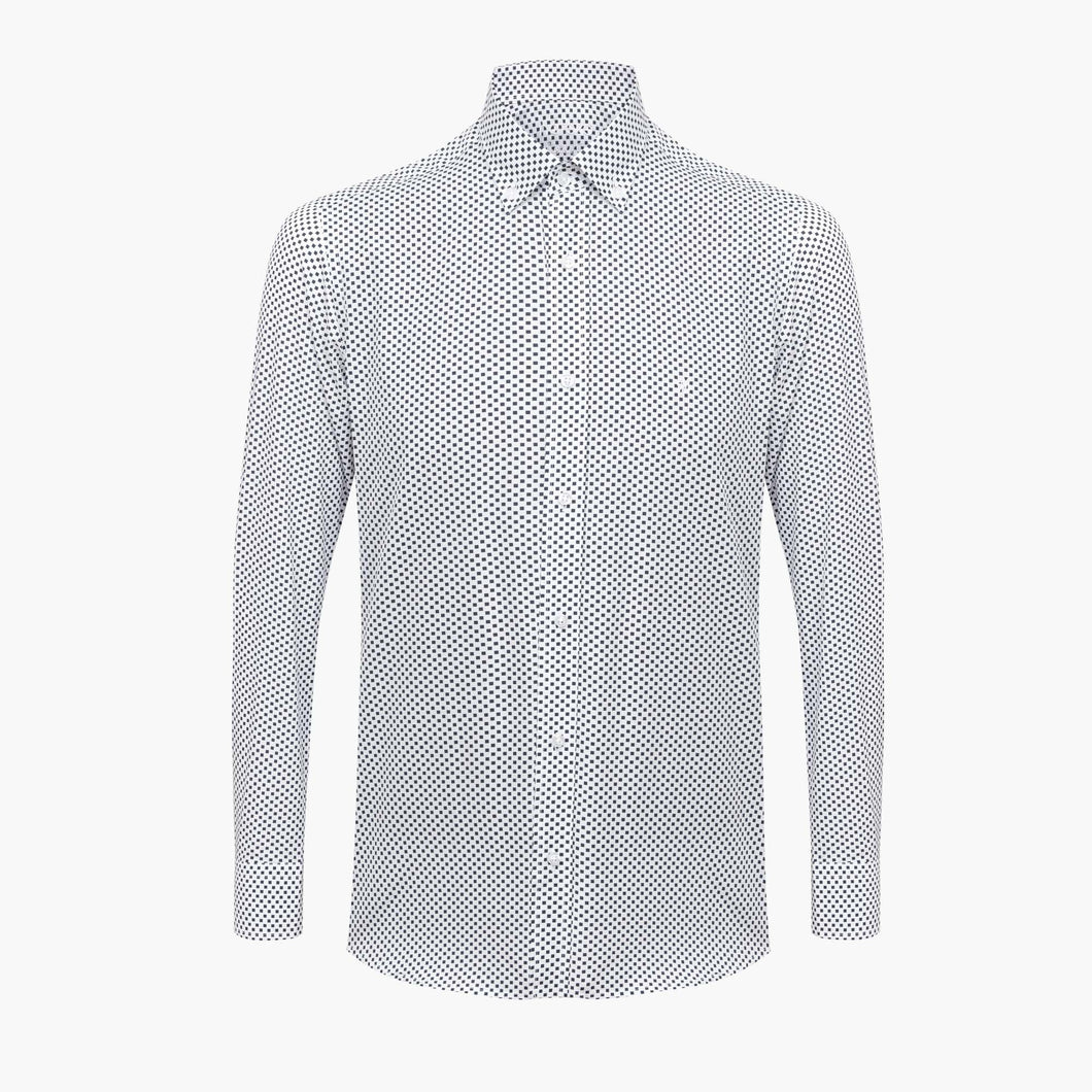 %100 Cotton Printed Squared Patterned White Slim Fit Shirt