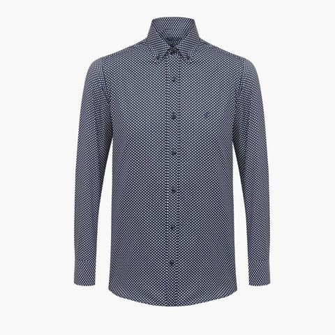%100 Cotton Printed Squared Patterned Navy Slim Fit Shirt
