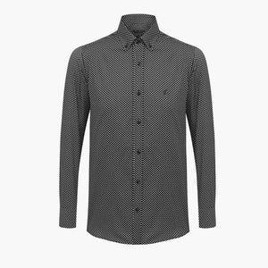 %100 Cotton Printed Squared Patterned Black Slim Fit Shirt