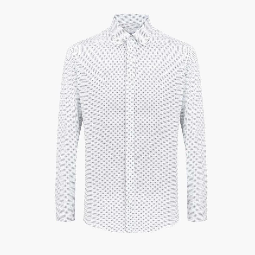 %100 Cotton Printed Tiny Squared Patterned White Slim Fit Shirt