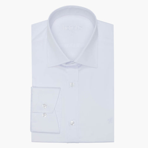 %100 Cotton Sateen Slim Fit White Dress Shirt