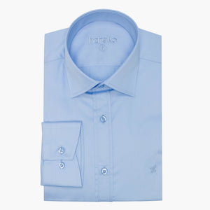 %100 Cotton Sateen Slim Fit Blue Dress Shirt
