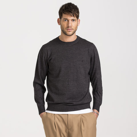 Anthracite Regular Fit Woolen Crewneck Sweater
