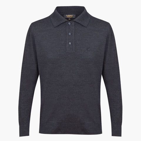 Anthracite Regular Fit Woolen Polo Sweater