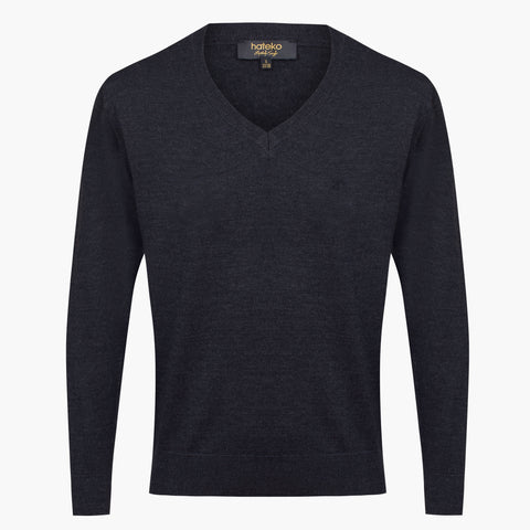 Anthracite Regular Fit Woolen V-Neck Sweater