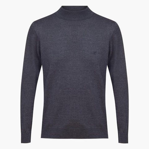 Anthracite Regular Fit Woolen Light Mock Neck Sweater