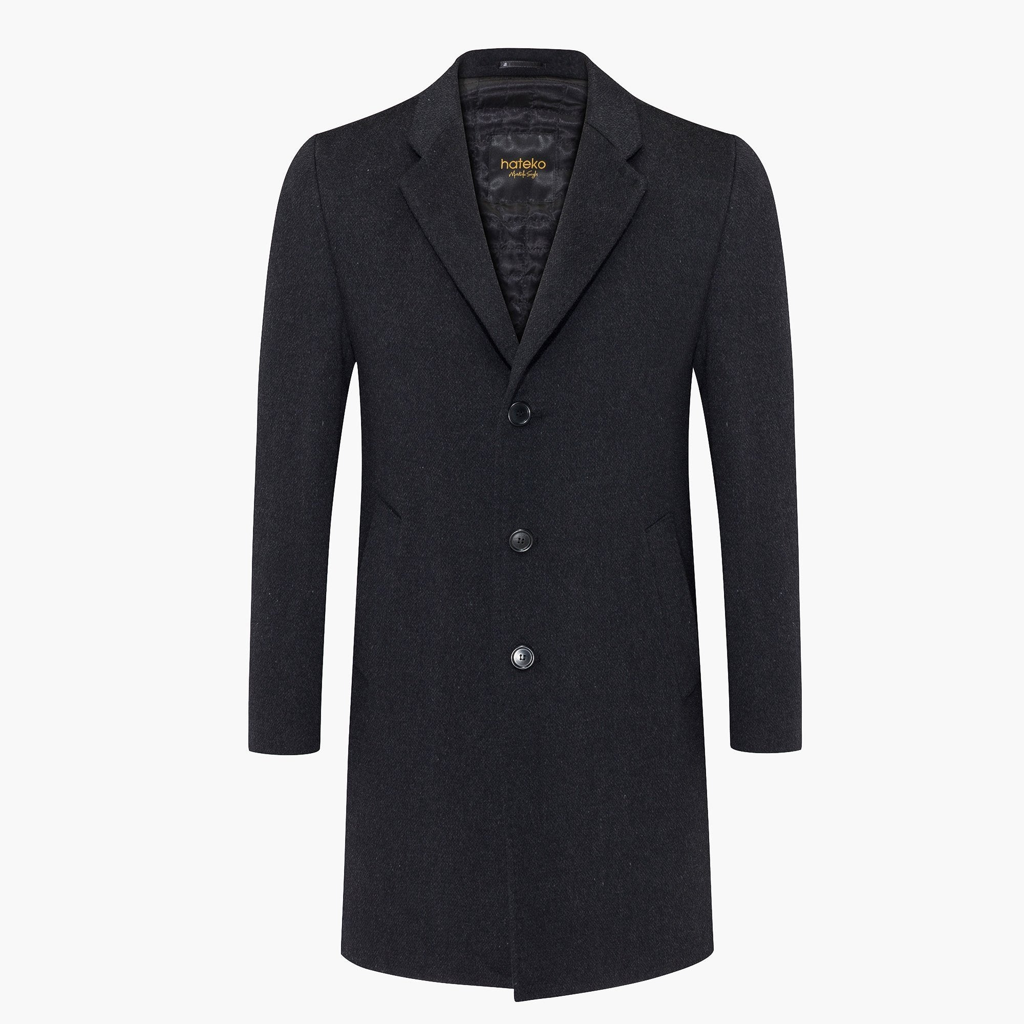 Slim Fit Anthracite Wool Coat