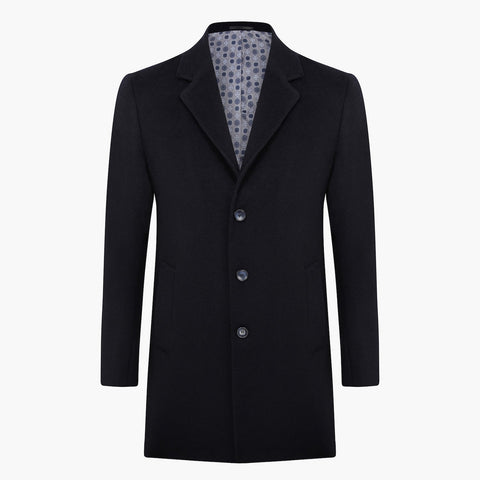 Slim Fit Navy Wool Coat