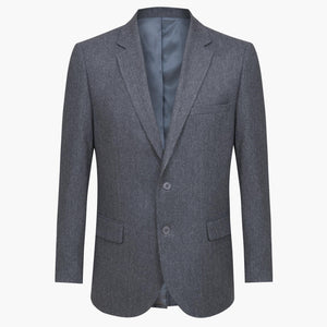 Altınyıldız Winter Regular Short Fit Smokey Black Herringbone Patterned Wool Blazer