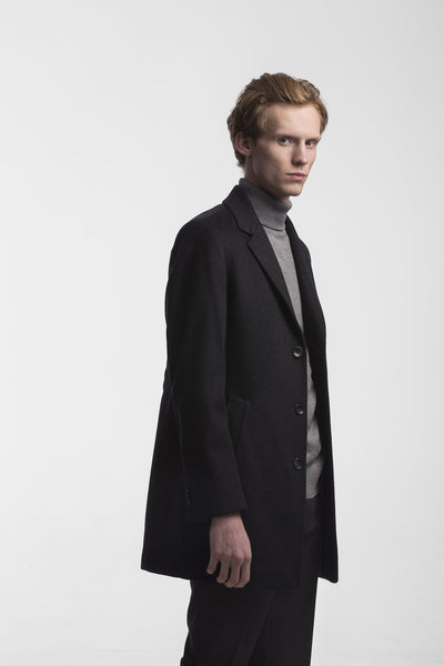 Slim Fit Black Wool Coat