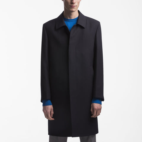 Regular Fit Navy %50 Wool Overcoat