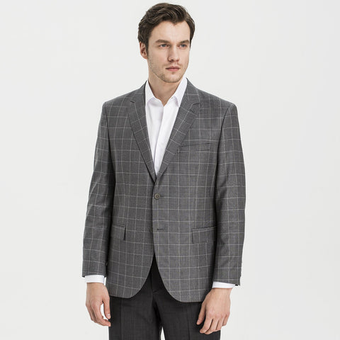 Altınyıldız Regular Short Fit Grey Plaid 88% Wool Blazer