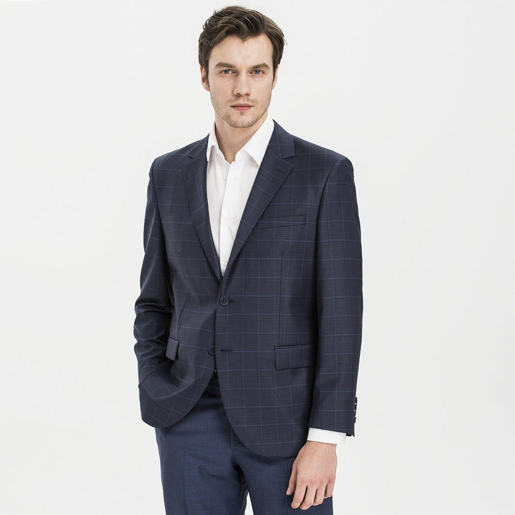 Altınyıldız Regular Short Fit Dark Blue Plaid 88% Wool Blazer
