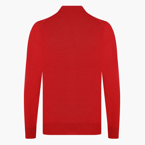 Red Regular Fit Woolen Cardigan - hateko