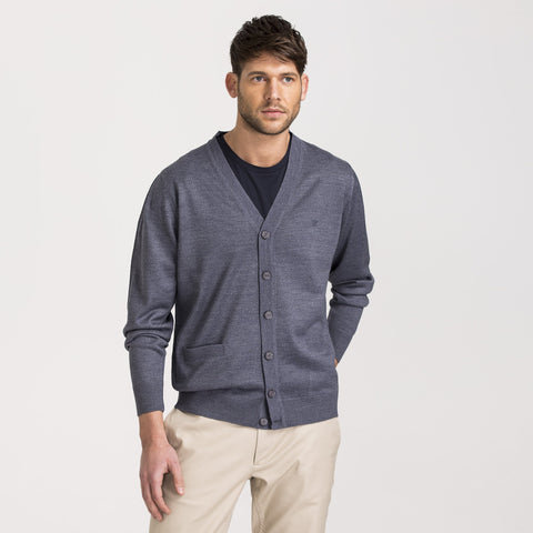 Blue Regular Fit Woolen Cardigan