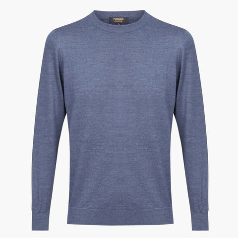 Blue Regular Fit Woolen Crewneck Sweater