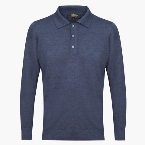 Blue Regular Fit Woolen Polo Sweater