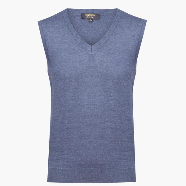 Blue Regular Fit Woolen Sweater Vest