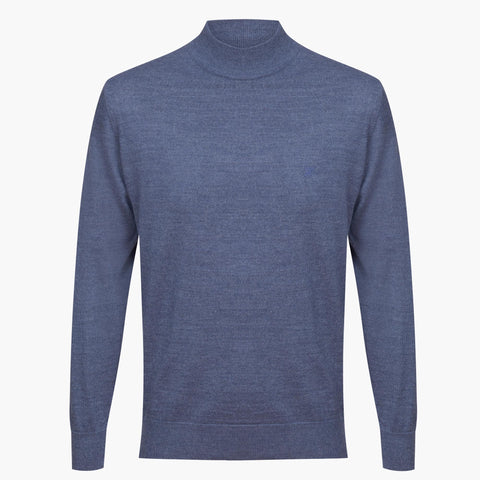 Blue Regular Fit Woolen Light Mock Neck Sweater