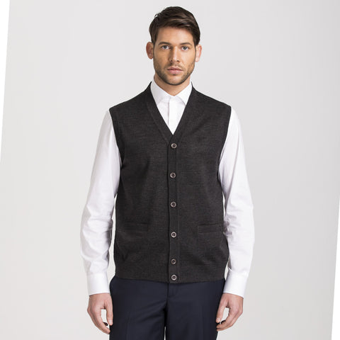 Anthracite Regular Fit Woolen Vest