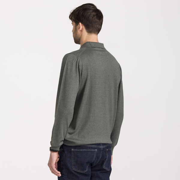 Green Regular Fit Woolen Polo Sweater - hateko