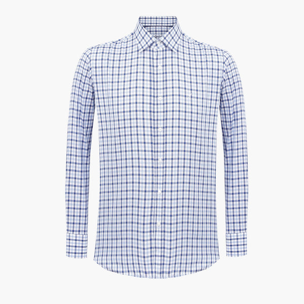 Checked Navy & Blue & White %100 Cotton Slim Fit Shirt