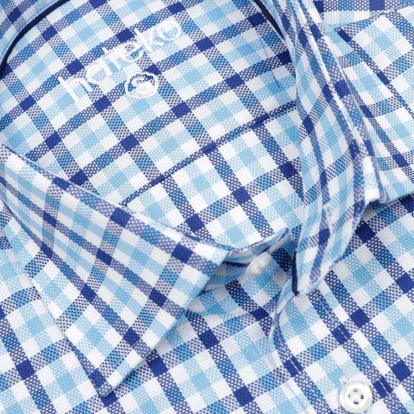Checked Navy & Turquoise & White %100 Cotton Slim Fit Shirt