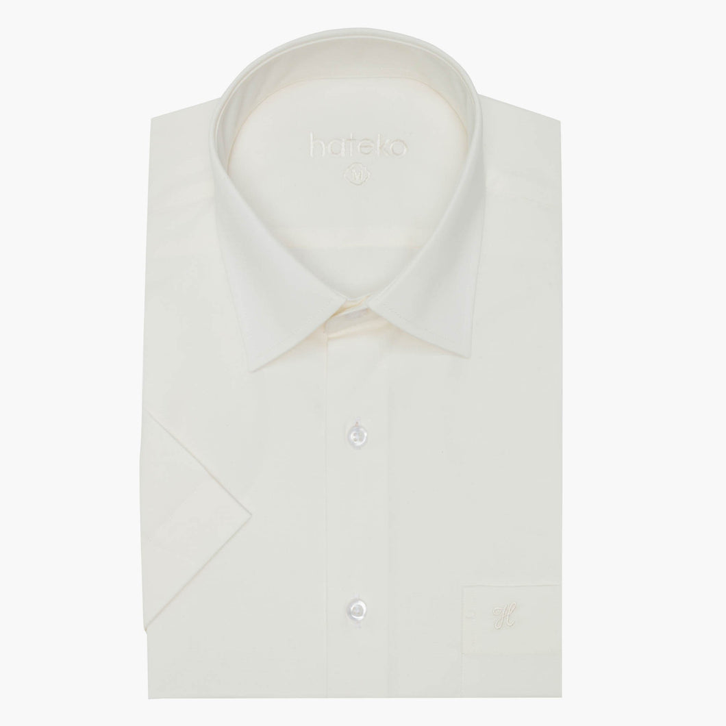 Regular Fit Short Sleeve Ivory Shirt